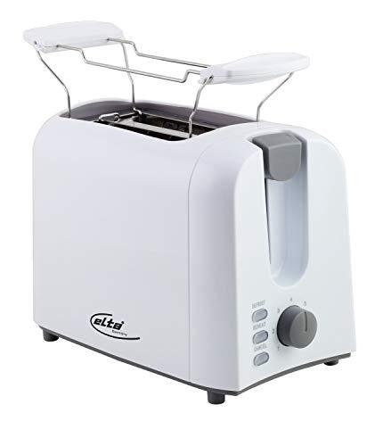 Elta Toaster Classic Line CTO-750.16 (750 Watt, 2 Scheiben, inklusive Brötchenaufsatz, 7 Stufen, Auftau-Funktion, einfache Reinigung, weiß), Farbe:weiss