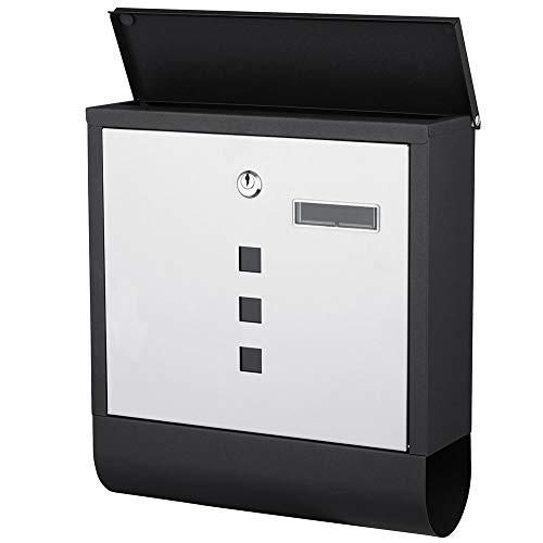 Bakaji Briefkasten aus Edelstahl für die Wand, Briefschlitz für den Außenbereich, mit Schlüssel und Zeitungsrolle (weiß schwarz)