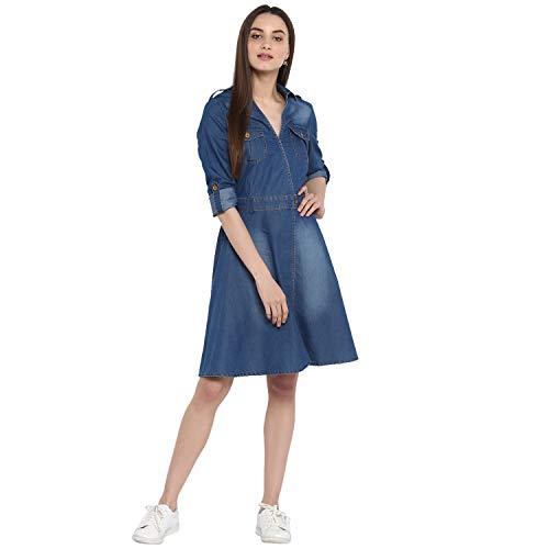 StyleStone (3323DnmCrossBtnDrs) Women's Denim Dress with V Neck