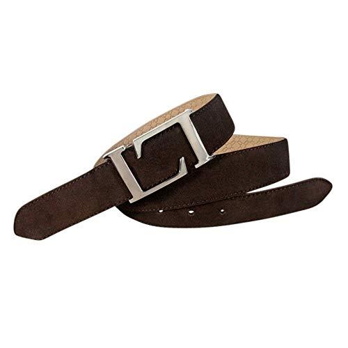Leyva - Cinturón de hombre en piel afelpada con hebilla icónica (Marrón,...