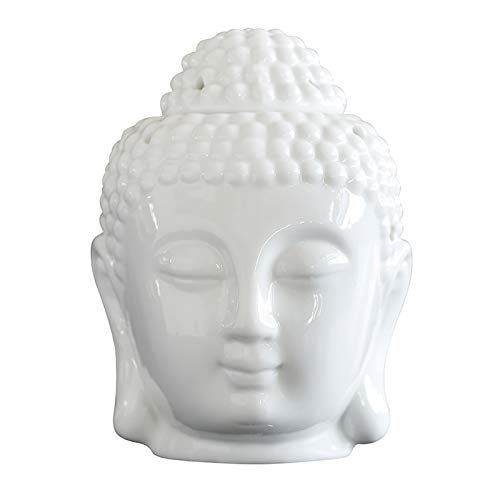 MEIRUIQI Candle Warmer Buddha Head Statue Oil Burner Translucent Ceramic Great House Decoration (white)
