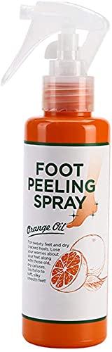 Voetpeelingspray Sinaasappelolie, voetpeelingspray die dode huid verwijdert, natuurlijke sinaasappelessentie Pedicurehanden Dode huid voor gebarsten ruwe hielen, exfoliërende peeling en eelt op voeten