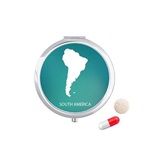 DIYthinker Zuid-Amerika Continent Silhouette Kaart Reizen Pocket Pill Case Medicine Drug Opbergdoos Dispenser Spiegel Gift