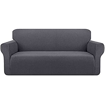 Kiduck High Stretch Couch Cover Form Fit Super Soft Sofa Slipcover for 3 Cushion Couch Non-Slip Sofa Cover Furniture Protector with Elastic Bottom for Kids Pets  Large,Grey