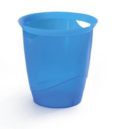 Durable 1701710540 Papierkorb Trend, mit Tragegriffen, 16 l, blau transparent