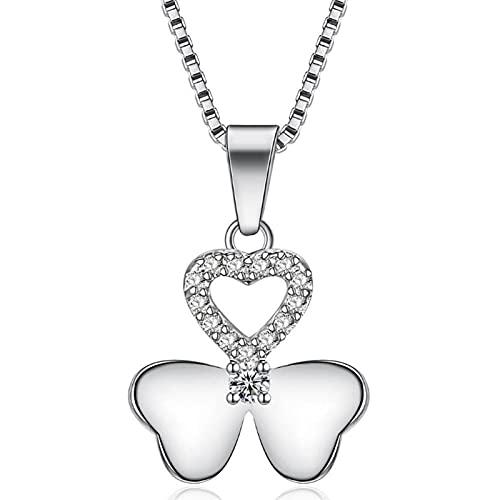 HCMA Collar de Plata de Ley 925 con Colgante de Flor de trébol de circonio para Mujer, Regalo, Gargantilla de Cadena de Caja de 45 cm