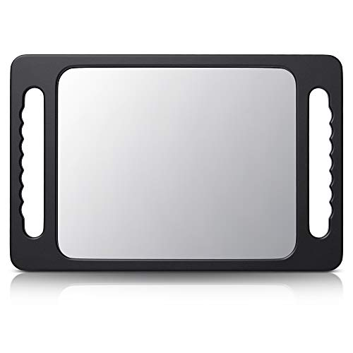 TASALON Unbreakable Hand Mirror with Double Handle - Large Handheld Barber Mirror for Hair and beauty Salon - Durable Hand Held Mirrors for barbershop - Lightweight Haircut Mirror with Double Handgrip