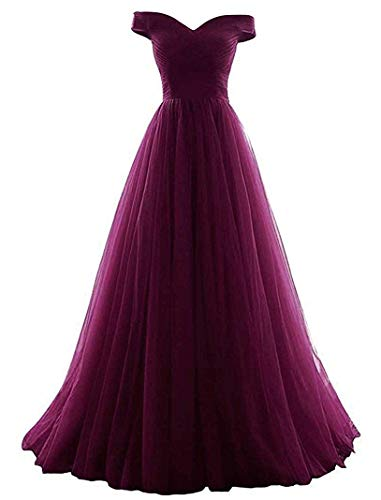 VICKYBEN Women's A-line Tulle Prom Formal Evening Homecoming Dress Ball Gown (8, Grape)