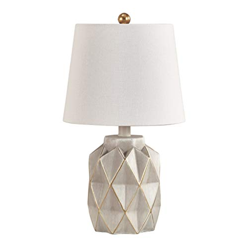 Table Lamps Stone & Beam Industrial Decor Concrete Table Desk Lamp and Shade Simple Modern Bedroom Bedside Lamp for Bedroom Living Room Dining Room 10 X 10 X 17 Inches Crystal Table lamp