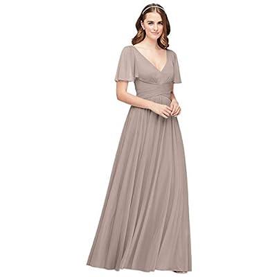 David's Bridal Flutter Sleeve Crisscross Mesh Bridesmaid Dress Style F19933, Ice Blue, 18