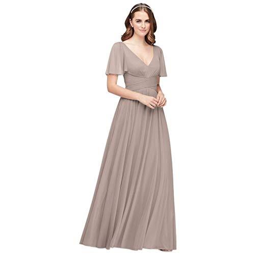 David's Bridal Flutter Sleeve Crisscross Mesh Bridesmaid Dress Style F19933, Ice Blue, 0