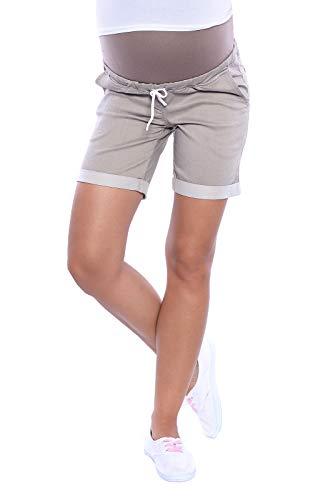 MijaCulture Kurze Jeans Umstandsshorts Umstandshose mit Bauchband für Sommer 4122 (L / EU40, Beige)
