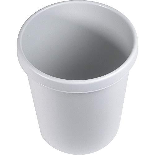 HELIT Corbeille à Papier Plastique Ronde Diam 35 cm H 40,5 cm 30 litres Gris Clair