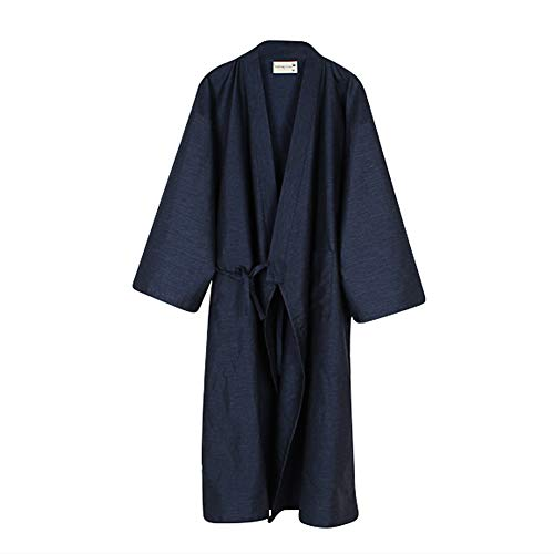 Women Men Kimono Robe Bathrobe Cotton Sleepwear Dressing Gown Loose Loungewear Dark Blue