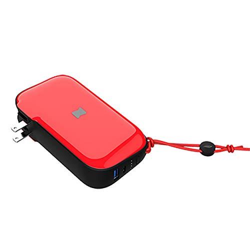 JIEXIAO Cargador de Viaje Viene con el Enchufe, del Cargador del Banco de Potencia, Tres-en-uno portátil 10000Mahpd de Carga rápida Banco de la energía inalámbrica,Rojo