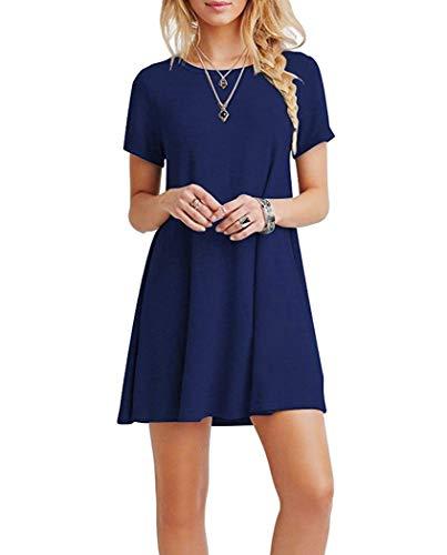 Falechay Kleid Damen Sommerkleid Tunika Freizeitkleid Atmungsaktives Rundhals Kurzarm Knielang T-Shirtkleid Dunkelblau-M