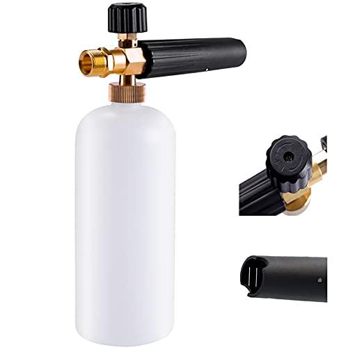 Espuma de espuma para lavar el coche con boquilla de espuma ajustable, botella de pulverizador de jabón pulverizador 1 L para KRANZLE/Himore/Ubermann y otras pistolas de lavado a presión