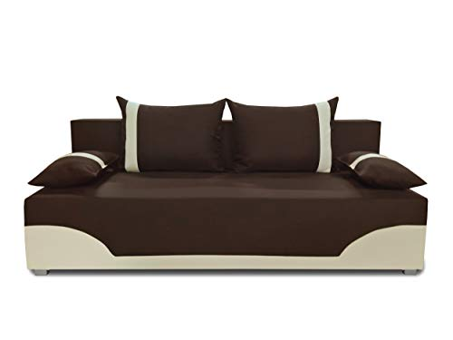 Bettsofa Schlafsofa Sofa Dario - Klappsofa mit Schlaffunktion und Bettkasten, Schlafcouch, Couch, Couchgarnitur, Sofagarnitur (Braun + Beige (Neo 06 + Dolaro 100))