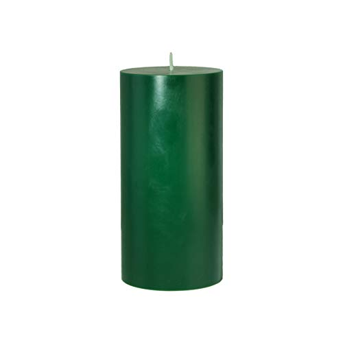 CandleNScent 3x6 Holiday Green Pillar Candles Hand Poured Unscented (Pack of 1)