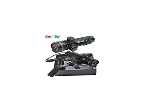 CursOnline Puntatore Laser di Precisione per Fucile Pistola Caccia Softair Tiro di Colore Rosso Set Completo di Attacchi, Cordino Remoto e Batteria. Distanza 200-300 Metri
