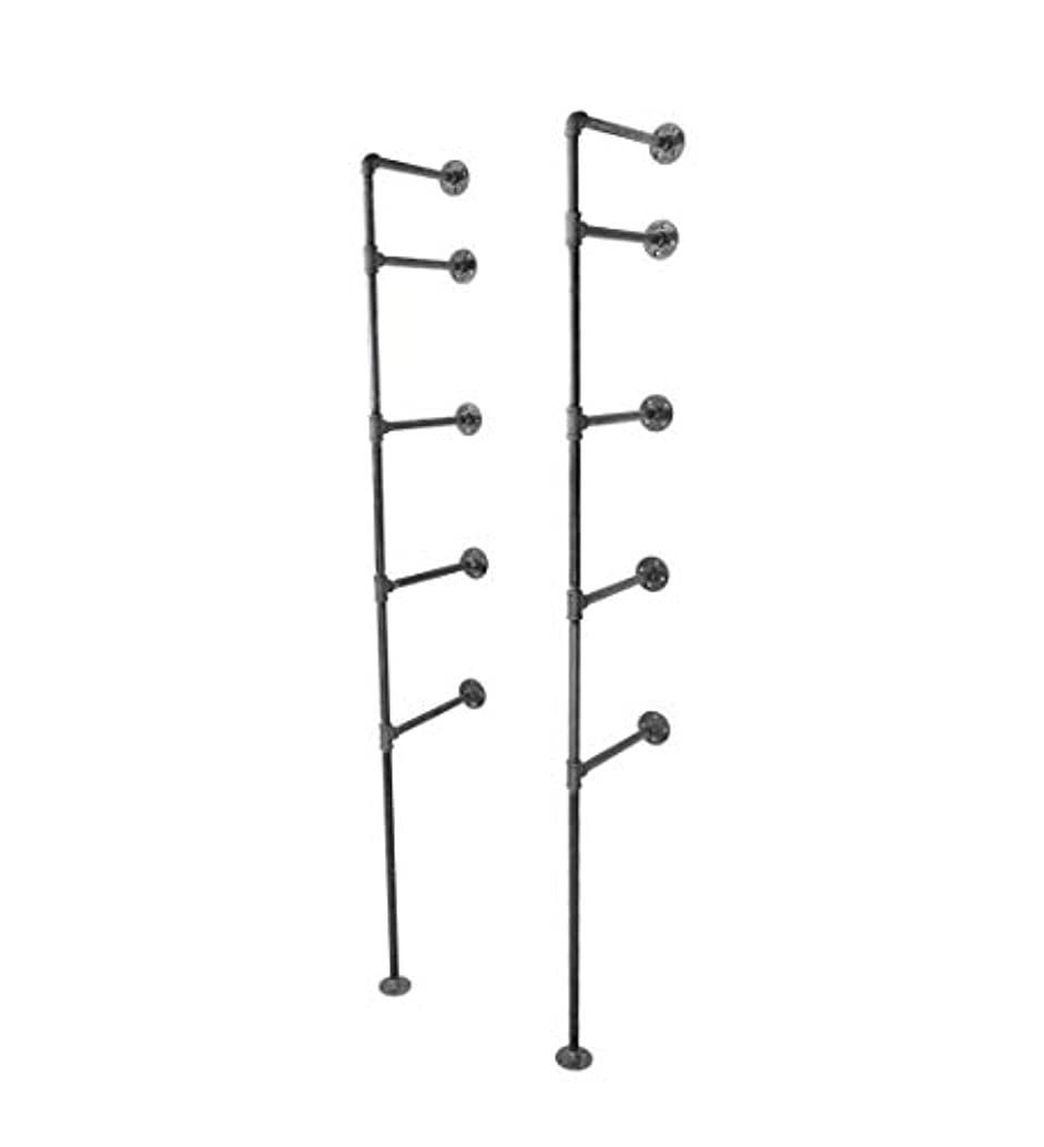 Pipe Decor 4 Tier Industrial Shelves, Vintage Iron DIY Shelving Unit, Rustic Floor or Wall Mounted Hanging Bookshelf, Perfect for Garage or Kitchen Storage, Heavy Duty Black Metal Rack Four Shelf Kit