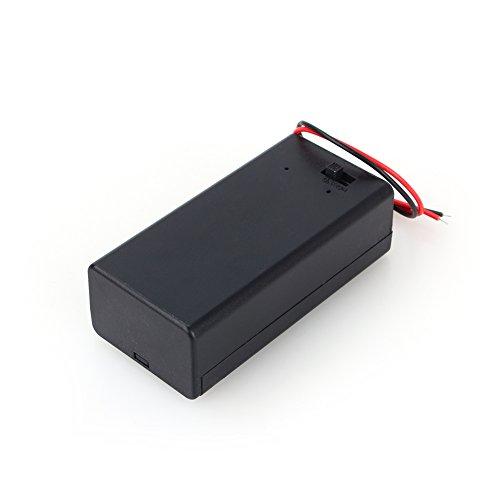 Hilitand - Soporte de batería de plástico para batería de 9 V PP3 con interruptor de encendido/apagado + cable de cable