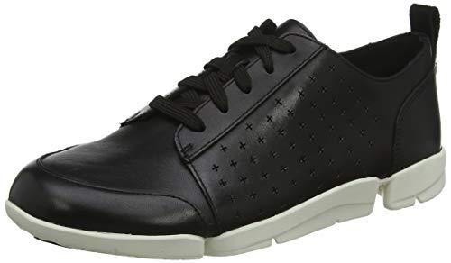 Clarks Triamelia Edge, Zapatillas Mujer, Beige (Black Leather Black Leather), 37 EU
