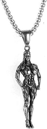 ZJJLWL Co.,ltd Collar Collar de Acero Inoxidable Joyas Mujer Collar de Culturismo Muscle Fitness Collar con Colgante de Acero de Titanio Regalo para Mujeres Hombres Regalos