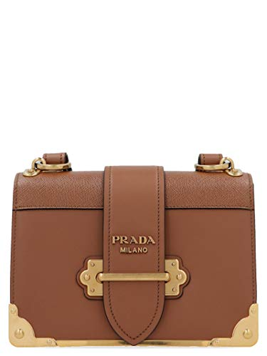 Luxury Fashion | Prada Dames 1BD045VXCH2BB0F0046 Bruin Leer Schoudertassen | Lente-zomer 20