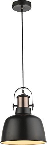 Hängelampe Vintage 1-Flammig Hängeleuchte Pendelleuchte Esszimmerlampe Metall Schwarz (Industrie Pendellampe, Küchenlampe, 23 cm, Höhe 120 cm, Kabel Schwarz)