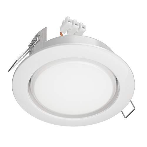 ledscom.de LED Einbaustrahler Zobe II flach GX53 weiß rund 4W=28W 280lm warm-weiß 107mm Ø Lochkreis 90mm Ø