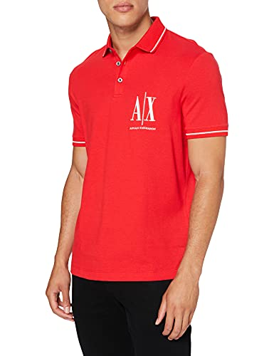 Armani Exchange Mens New Classic Icon Project Basic Must Have Polo Shirt, ABSOLUT RED, S
