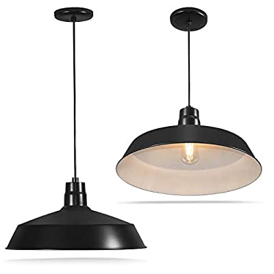 17-inch Industrial Black Pendant Barn Light Fixture with 10ft Adjustable Cord, Ceiling-Mounted Vintage Hanging Light Fixture for Indoor Use, 120V Hardwire, E26 Base LED Compatible, UL Listed (2Pack)