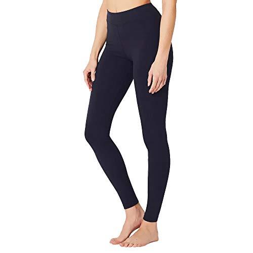 MAGIC SELECT Legging básico de algodón Largo, Malla elástica de Deporte para Mujer (Azul Marino L)