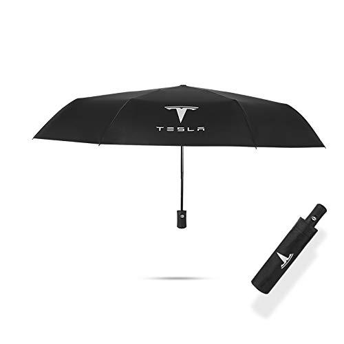 JDclubs AUTO - Paraguas plegable grande y resistente al viento con logotipo de coche (para Tesla)