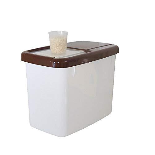 YWSZJ Contenedor de arroz de Cocina de plástico de 10 kg, contenedores de Caja de Almacenamiento de Cereales para Alimentos, Granos de Almacenamiento sellados a Prueba de Humedad con Taza medidora