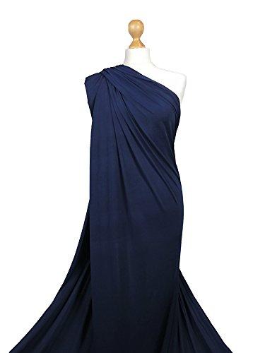 FABRIQUES LF01 - Tessuto in lycra per la realizzazione di vestiti, elasticizzato a 4 direzioni, morbido al tatto e di eccellente qualità, Elasticizzato, blu navy, 1 metro