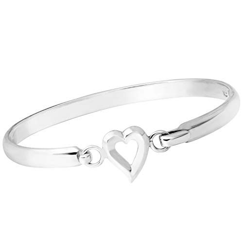 TreasureBay Beautiful Women's Love Heart 925 Sterling Silver Bangle