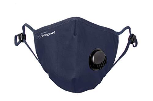 Livinguard - PRO MASK  3-Lagige Gesichtsmaske, with Valve   Verstellbar, Waschbar, Wiederverwendbar (Bombay Blue, L)
