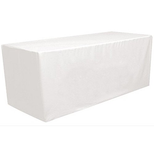 8' ft Fitted Polyester Tablecloth Rectangular Table Cover Wedding Banquet Party by GW Home (White, 8' ft)