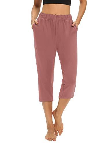 THANTH Womens Capri Pants Loose Comfy Yoga Lounge Pajamas Pants Workout Athletic Joggers Pants with Pockets Pink L