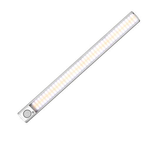 Chnrong Luces LED con sensor de movimiento para armario, 160/120/80 LED, recargable por USB, luz de gabinete regulable con tira magnética, tira de luz para cocina, armarios, sótanos, escaleras