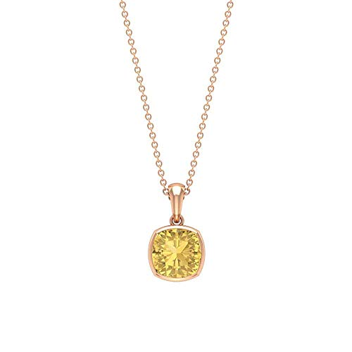 Rosec Jewels 10 quilates oro rosa cojín Yellow Citrine