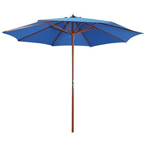 vidaXL Sonnenschirm mit Holz-Mast Kurbelmechanismus Gartenschirm Ampelschirm Marktschirm Strandschirm Balkon Terrasse 300x258cm Blau