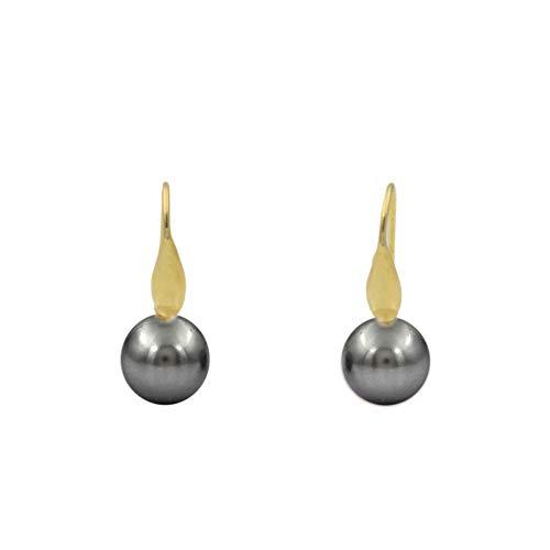 Pendientes de plata con perla Swarovski (Plata Chapada en oro amarillo)