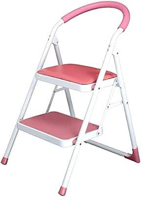HOMRanger Taburete de Escalera de 2 escalones Taburete Plegable de Acero Grueso con peldaño Antideslizante, para Adultos Taburete multifunción de 150 kg (Color: Rosa): Amazon.es: Hogar