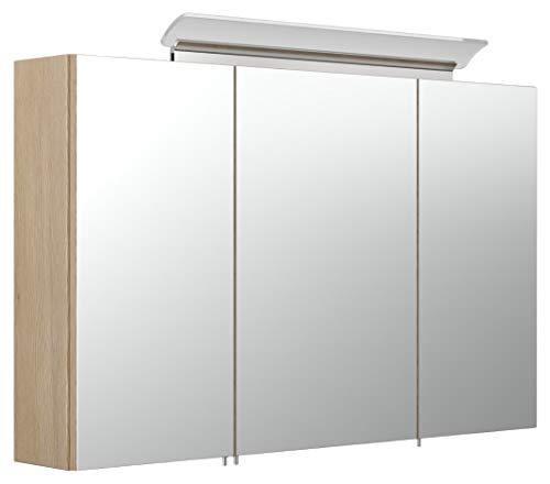 emotion Spiegelschrank 100cm inkl. Design LED-Lampe und Glasböden Eiche hell seidenglanz