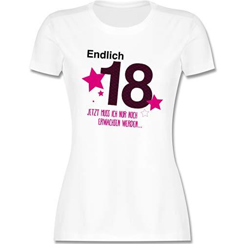 Geburtstag - Endlich 18 - S - Weiß - endlich 18 Tshirt Damen - L191 - Tailliertes Tshirt für Damen und Frauen T-Shirt