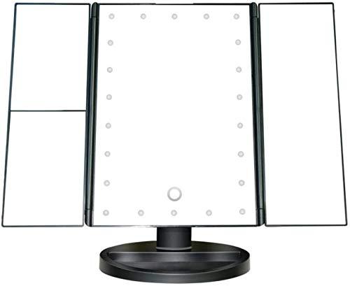 Espejo de mesa de maquillaje Espejo de vanidad iluminoso con luces de 21 led, pantalla táctil y espejo de aumento de 3x / 2x / 1x, doble modo de alimentación espejo de maquillaje de mesa, espejo de co