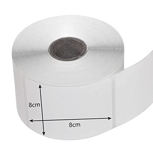 Etichette di bianca,500 Pezzi Etichette Adesive Bianche,80 X 80 mm Su Rotolo,Multiuso,Etichette Autoadesive per Stampante,Rimovibile bianca Adesiva per Decorare Barattoli,Vino,Casa e Ufficio